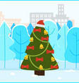 christmas fir tree in park winter holiday decor vector image vector image