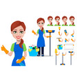 cleaning company staff in uniform vector image vector image