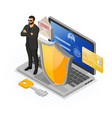 computer internet and personal data security vector image vector image