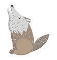 cute wolf cartoon flat sticker or icon vector image vector image