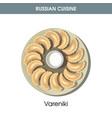 delicious vareniki with sour cream from russian vector image vector image