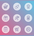 e-commerce icons line style set with delivery man vector image