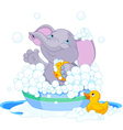 Elephant having a bath vector image
