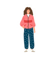 fashionable female in 80s street style flat vector image vector image