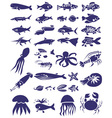 fish and marine reptiles icons on white vector image