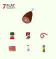 flat icon eating set of beef ketchup fizzy drink vector image vector image