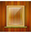 frame with glass on the wooden background vector image