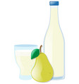fresh pear and juice in two containers vector image vector image