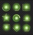 green glowing lights shape on black transparent vector image