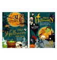 halloween pumpkin and spooky ghost poster design vector image vector image