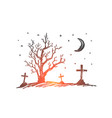 hand drawn halloween cemetery dry wood and moon vector image vector image