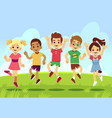 happy children boys and girls playing and jumping vector image