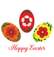 happy easter eggs flat isolated vector image