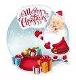 Happy Santa Clause with gift sack vector image