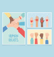 human rights together community hands equality vector image vector image