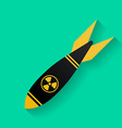 Icon of air bomb or missile with radiation sign vector image