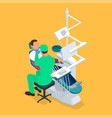 isometric dentist examining mans teeth in the vector image vector image