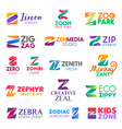 letter z corporate identity business icons vector image vector image