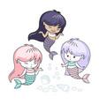 little mermaids cartoon characters vector image