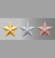 metal stars realistic gold silver bronze stars vector image