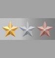 metal stars realistic gold silver bronze stars vector image vector image