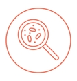 Microorganisms under magnifier line icon vector image vector image