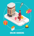 online hotel booking concept flat isometric vector image