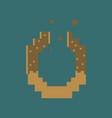 pixel icon in flat style pretzel vector image
