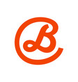 script initial b lettermark in circle icon design vector image