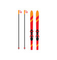 skiing with sticks is a winter accessory for vector image vector image