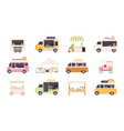 street kiosks fast food trucks tents and popcorn vector image