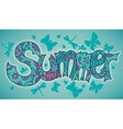 summer text with flowers dragonflies beetles and vector image vector image
