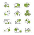 thin line farm icons set vector image vector image