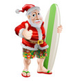 thumbs up surfing santa claus vector image