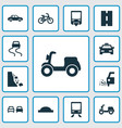 transport icons set with falling rock moped vector image vector image