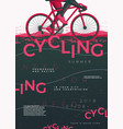 typographic cycling poster with bycicle vector image