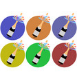 champagne cork flying out of a bottle icons vector image