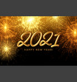 2021 happy new year golden shiny inscription on vector image vector image