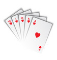 a royal flush hearts on white background vector image