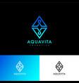 a v logo aqua vita letters monogram blue lines vector image vector image