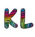 Background skin zebra shaped letter K L vector image vector image