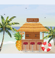 beach bar summer tropic seaside wooden house vector image vector image