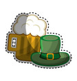 beer glass with foth and st patrick hat vector image vector image