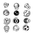 black sport balls set silhouettes vector image vector image