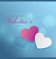 blue bokeh background with two floral hearts vector image vector image