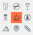 cafe icons set with pizza glass wine and other vector image