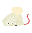 cartoon white mouse with speech bubble vector image vector image