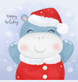 christmas greeting card with hippo vector image vector image