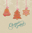christmas postcard with ornaments vector image vector image