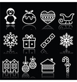 Christmas winter white icons with stroke on black vector image
